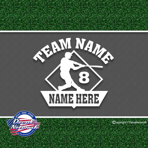Image of custom personalized vinyl baseball diamond batter decal sticker