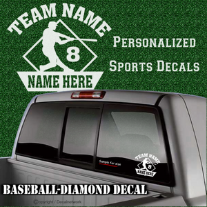 custom personalized vinyl baseball diamond batter decal sticker
