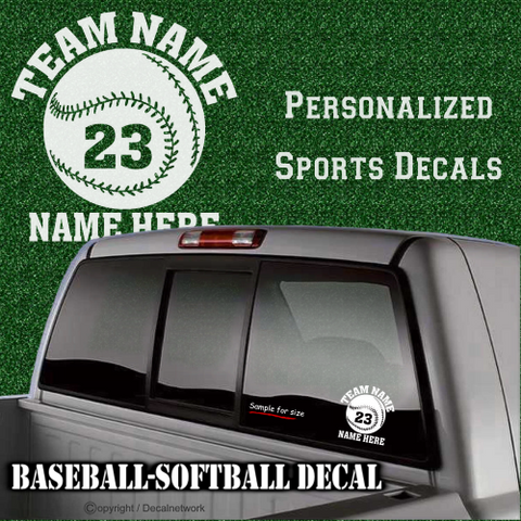 Image of custom personalized vinyl baseball softball decal sticker