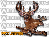 Whitetail Buck Deer Jumping Vinyl Decal