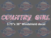 Country girl pink camo windshield vinyl decal sticker