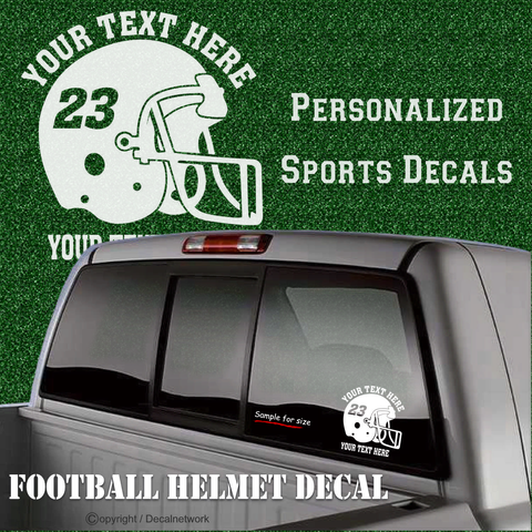 Image of custom personalized vinyl football helmet decal sticker