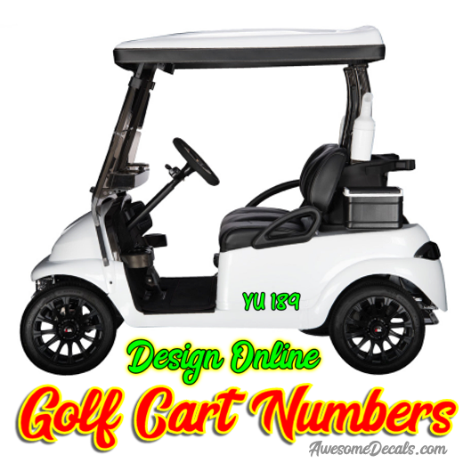 Custom Golf Cart Numbers Lettering Solid color vinyl