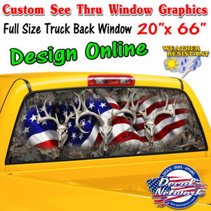 "Custom perforated see thru window graphic full size truck 20""x 66"""