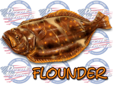 Flounder full color vinyl decal