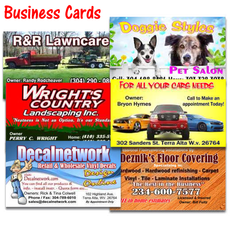 "Business Cards 2""x 3.5"" full color 2 sided glossy finish Qty. 1,000"