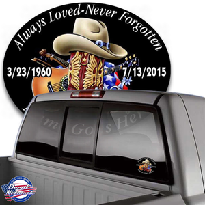 in loving memory country music cowboy hat boots guitar decal