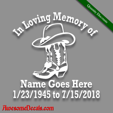 Image of in loving memory of country western cowboy hat boots decal