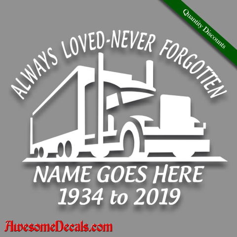 Image of in loving memory decal truck driver stick custom