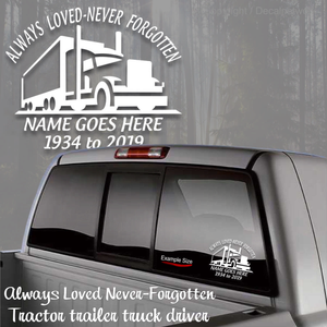 in loving memory decal truck driver stick custom