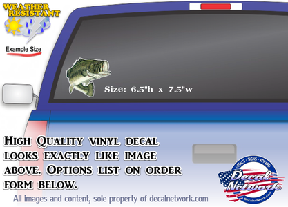 Large mouth bass vinyl decal full color