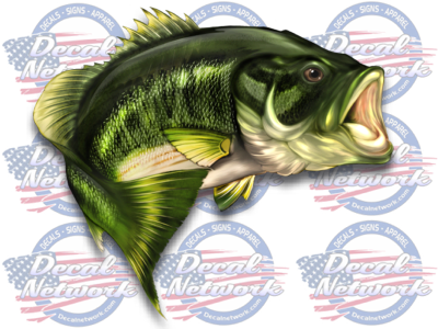Image of Large Mouth Bass full color fish vinyl decal