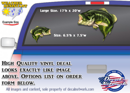 Large Mouth Bass full color fish vinyl decal