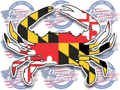 "Image of Maryland flag blue crab vinyl decal sticker 3""x 4"" - Decalnetwork"