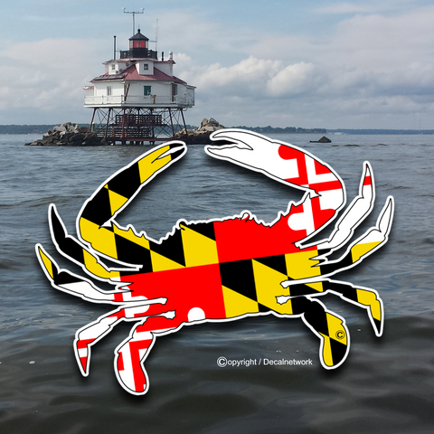 Image of Maryland flag blue crab vinyl decal sticker available in 3 sizes