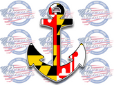 "Maryland Flag Ship Anchor vinyl decal sticker 5.3""x 7"""