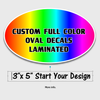 custom printed 3x5 oval decal full color