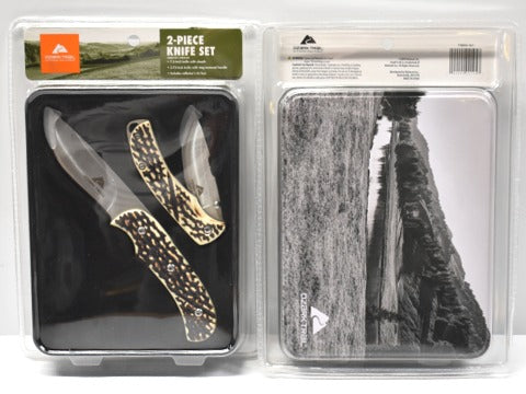Image of Ozark Trail 2 piece folding knife set bone style handle