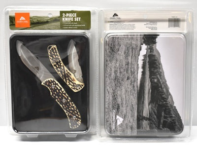 Ozark Trail 2 piece folding knife set bone style handle