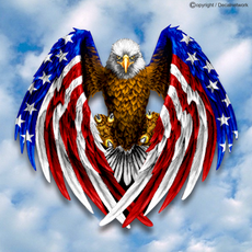 Patriotic American Flag Eagle vinyl decal window sticker