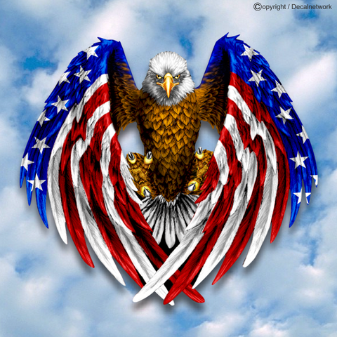 Image of American flag eagle decal sticker