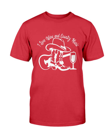 Image of I Love Wine and Country Music tee shirt design