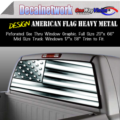 Image of american flag metal window graphic