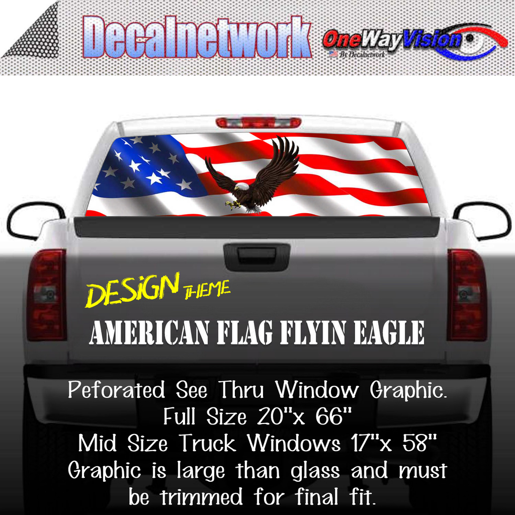American Flag Eagle Flying Window Graphic Perforated rear window film truck Suv glass