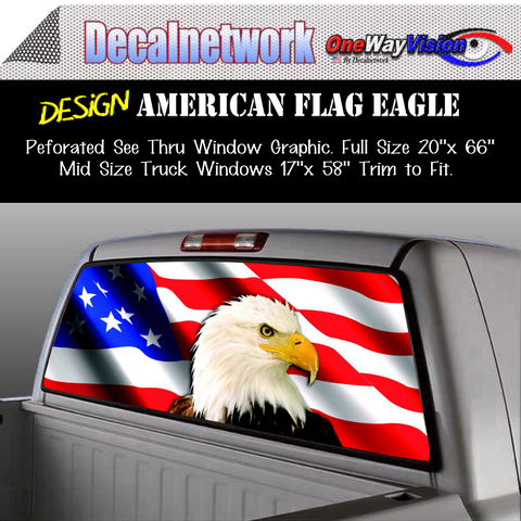 american flag eagle window graphic