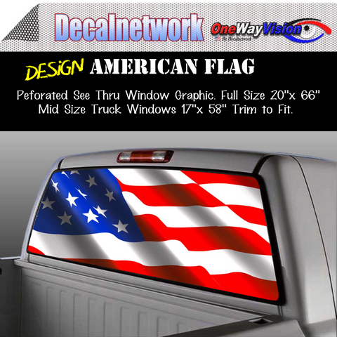 Image of American flag rear window graphic perforated film decal