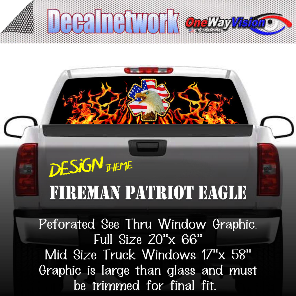Firefighter Patriot Eagle Window Graphic Perforated rear window film truck Suv glass