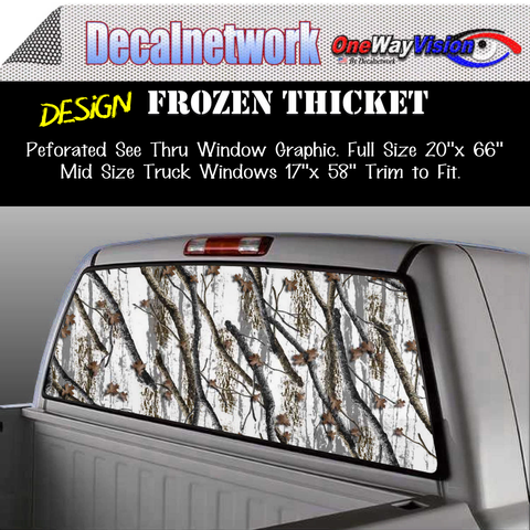 Image of Frozen thicket snow camo window graphic