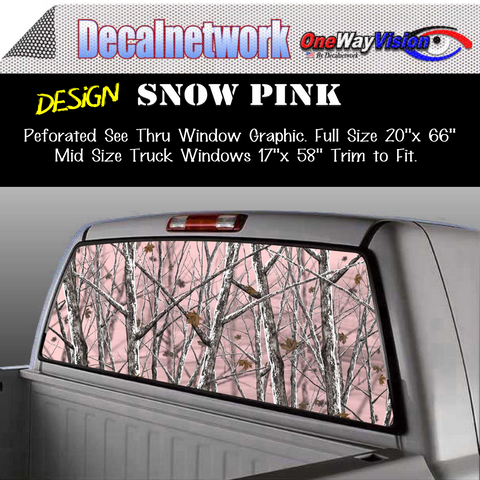 Image of pink snow camo window graphic
