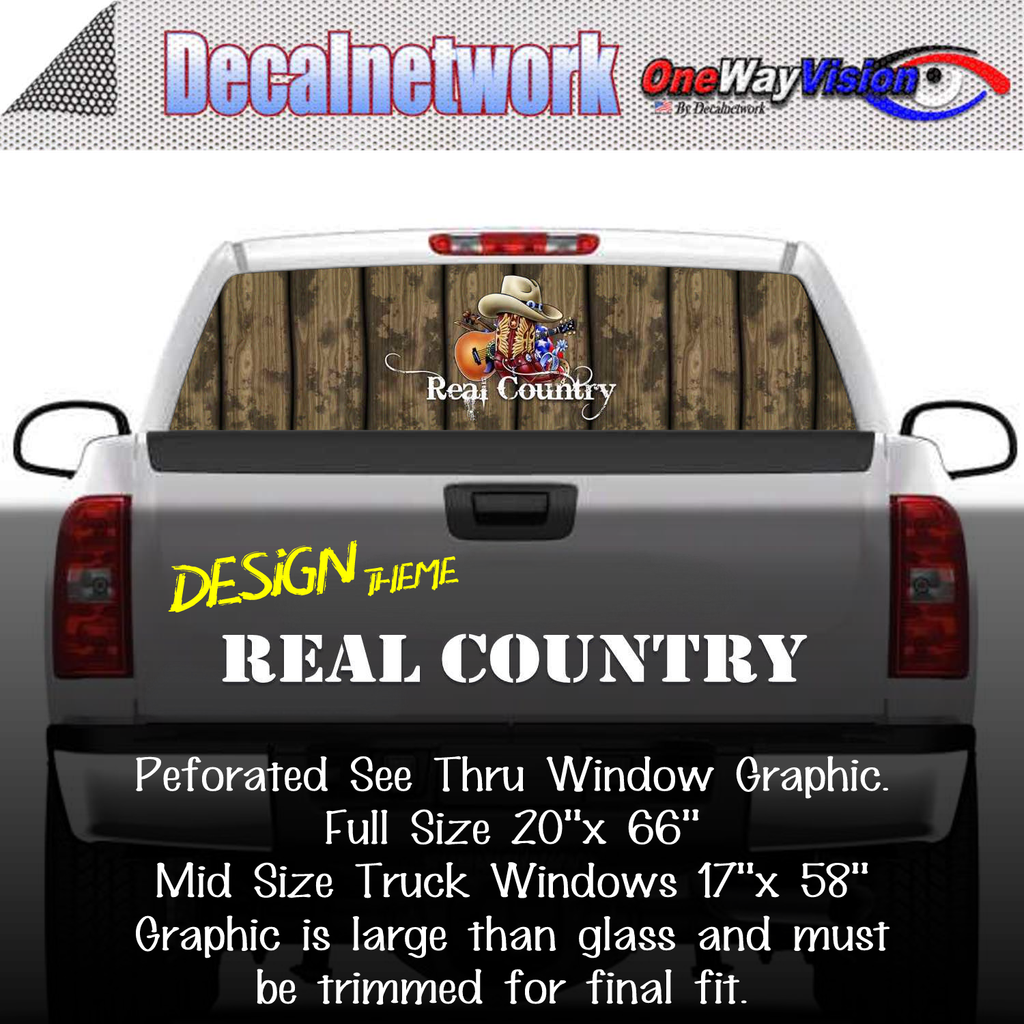 Real Country Window Graphic Perforated rear window film truck Suv glass