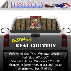 real country cow boy boots hat window graphic