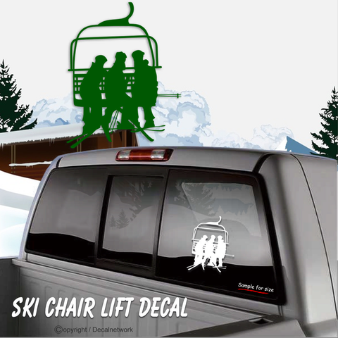 Image of Ski chair lift snow skiing vinyl decal car truck suv window sticker