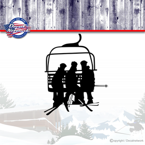 Ski chair lift snow skiing vinyl decal car truck suv window sticker