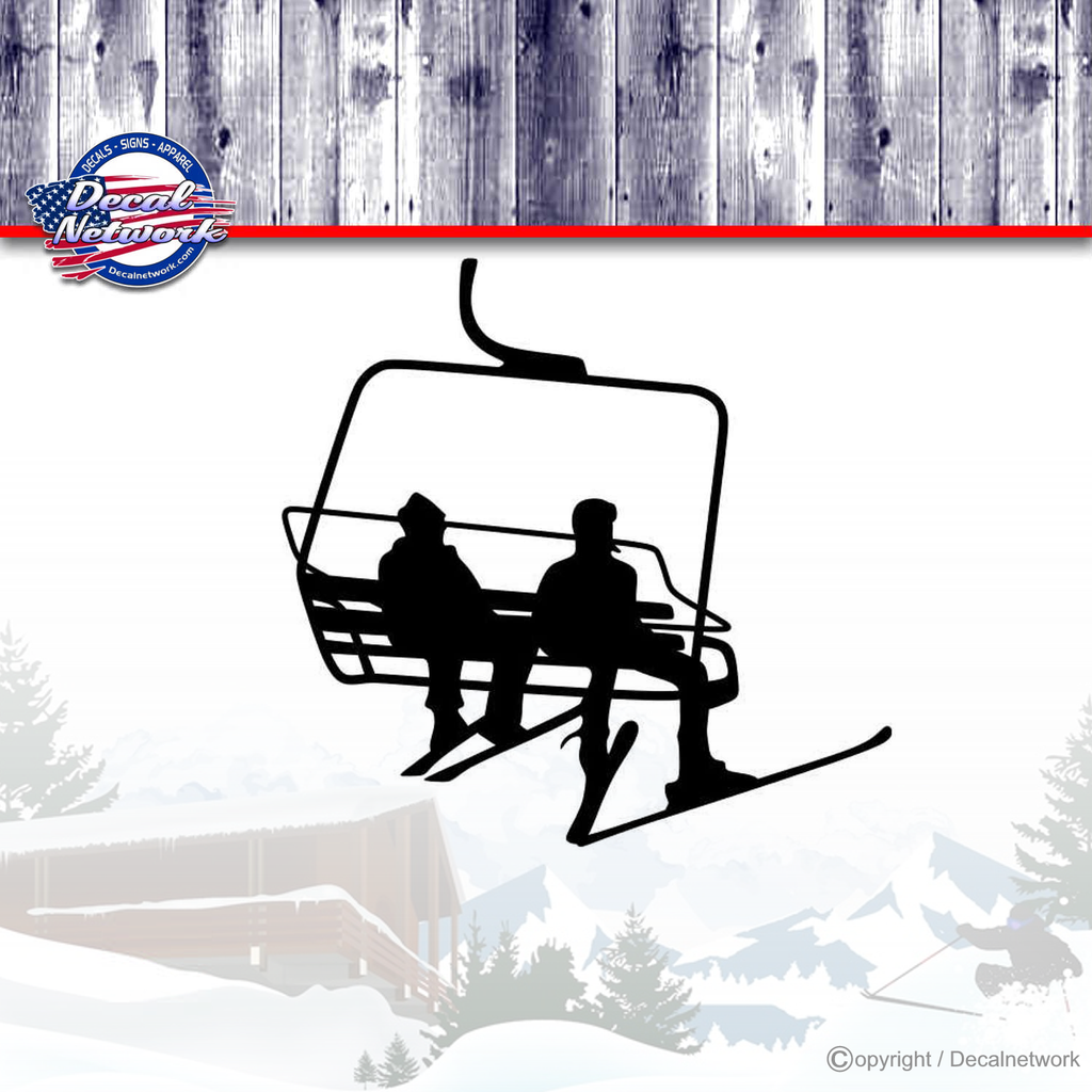 Ski chair lift couple snow skiing vinyl decal car truck suv window stickers