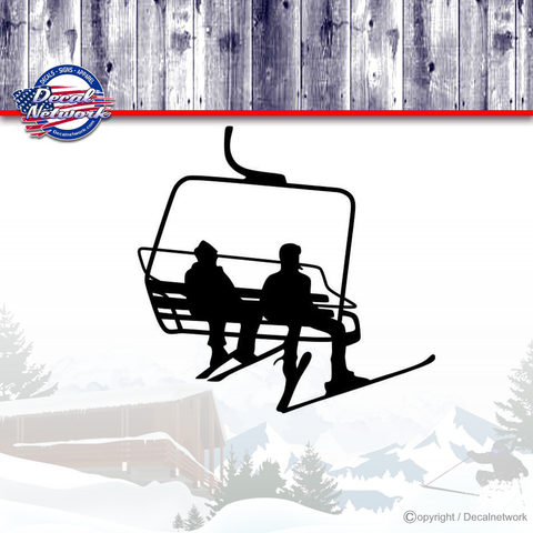 Image of ski chair lift skiing vinyl decal sticker