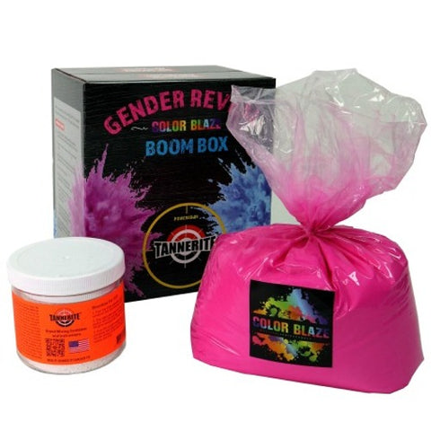Image of Tannerite Gender reveal boom box targets with color blaze pink or blue
