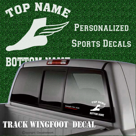 Image of custom sports decal track team wing foot car sticker