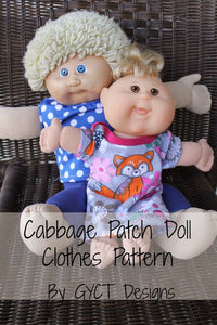 "Cabbage Patch Doll Clothing Patterns - Sizes 12"" and 17"""