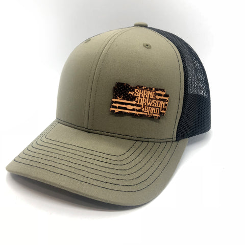 Leather Flag Patch Fitted Hats
