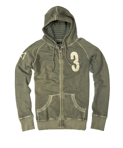 Men Zip Up Hoodie - Army Green