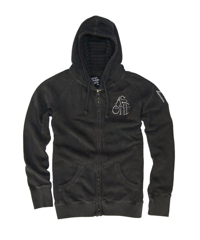 Men Zip Up Hoodie - Black