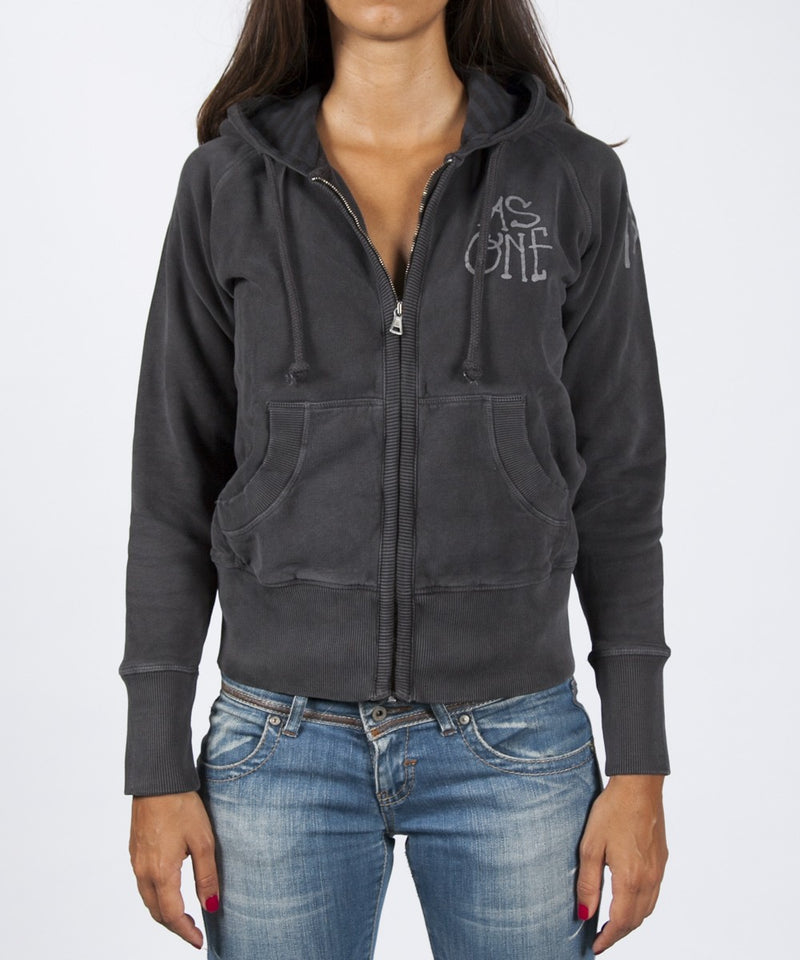 Women Zip Up Hoodie - Black