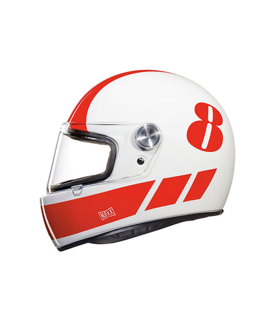 Billy B - White/Red - Full Face Racer Helmet