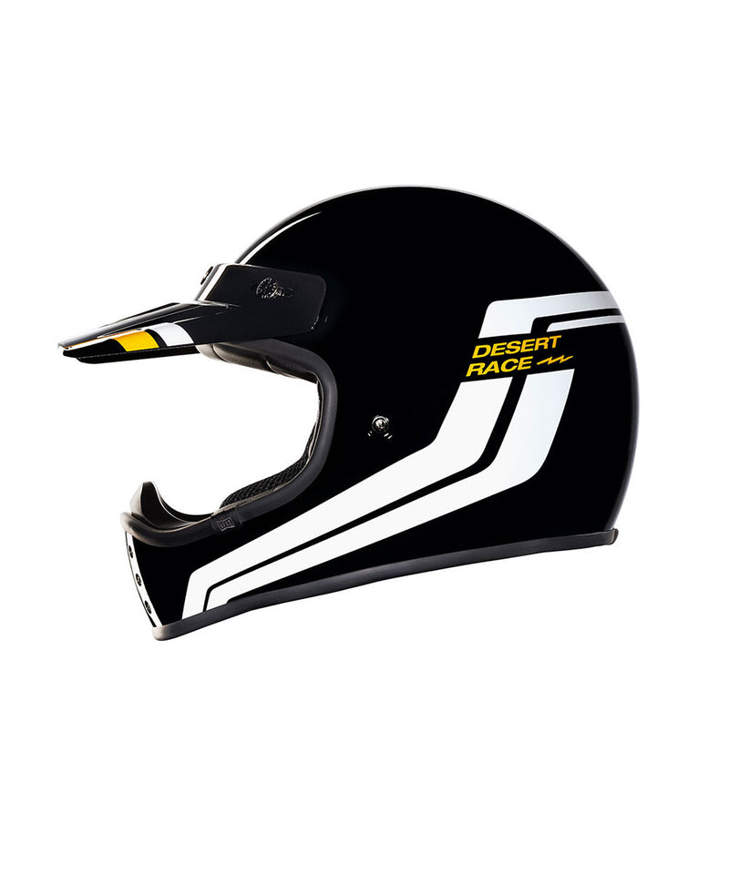 Desert Race - Black/White - Off Road Helmet