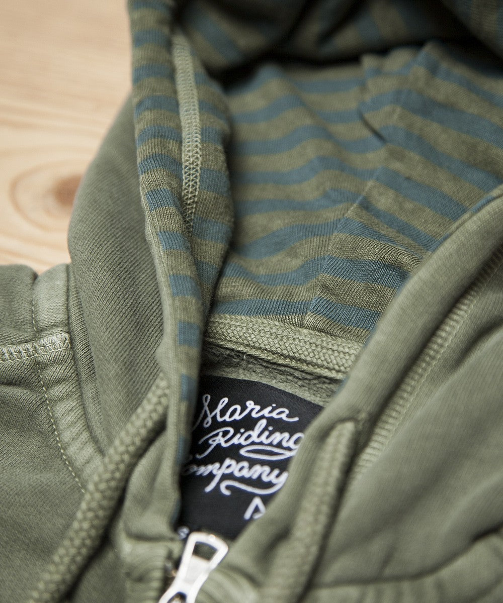 Women Zip Up Hoodie - Army Green