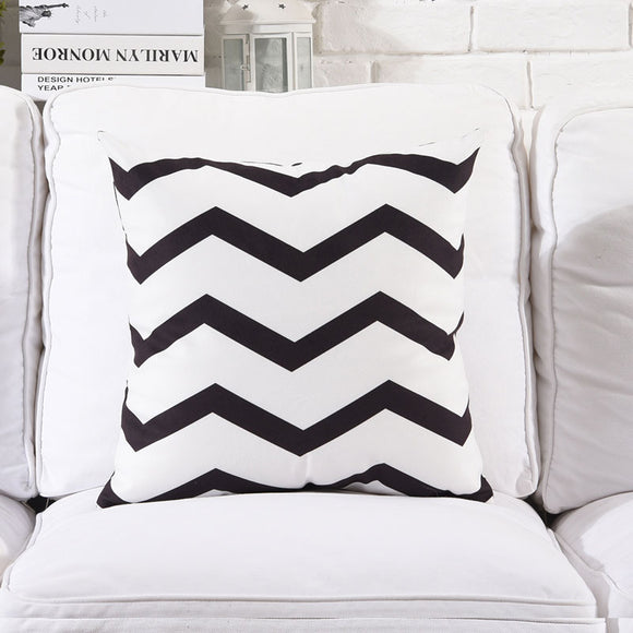Black and White Waves Cushion cover